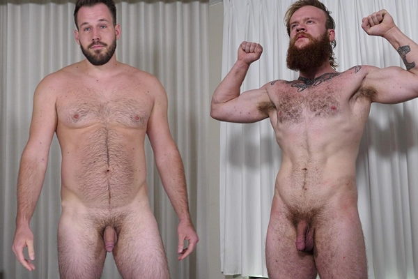 Tall hairy straight hunk Harry and bearded ginger stud Jax Norseman pose their naked muscle bodies before they jerk off in Harry Rubs One Out and He Cums in His Red Beard at Theguysite