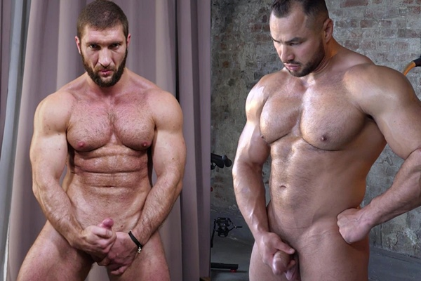 Masculine bearded Russian bodybuilder Max and big muscle man Stas show off their naked muscular bodies and shoot their creamy loads at Theguysite
