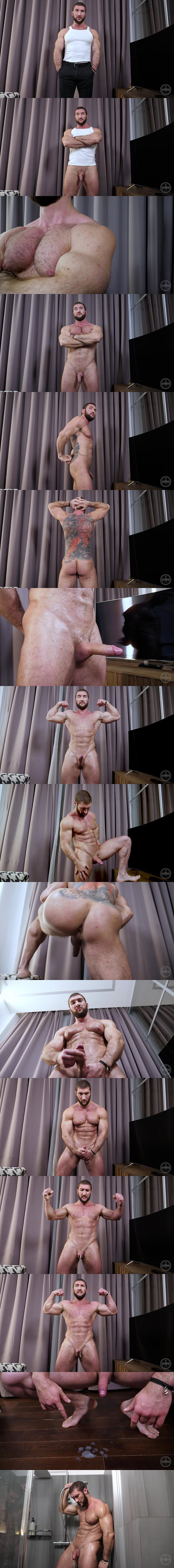 Masculine bearded Russian, ripped bodybuilder Max poses this naked mascular body before he has a hands-free orgasm at Theguysite