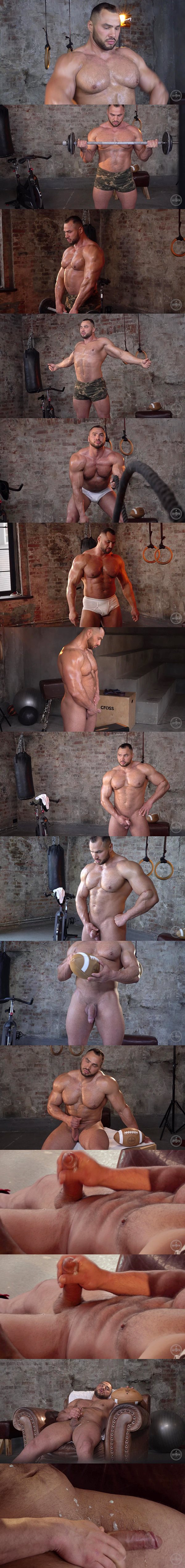 Beefy newcomer, Russian bodybuilder Stas works out and poses his strong muscle body before he strokes a sticky load out of his hard cock at Theguysite