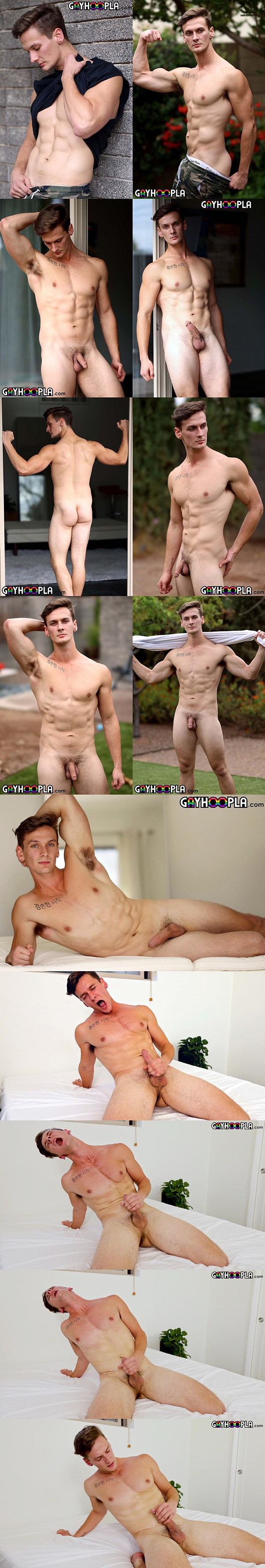 Lean ripped straight swimmer Roman Austin poses his naked body and jerks his hard boner before he has an intense orgasm at Gayhoopla