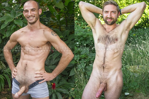 Hung ripped guardsman Eli and sexy hairy graduate student Mark show off their naked bodies before they piss and blow their loads at Islandstuds