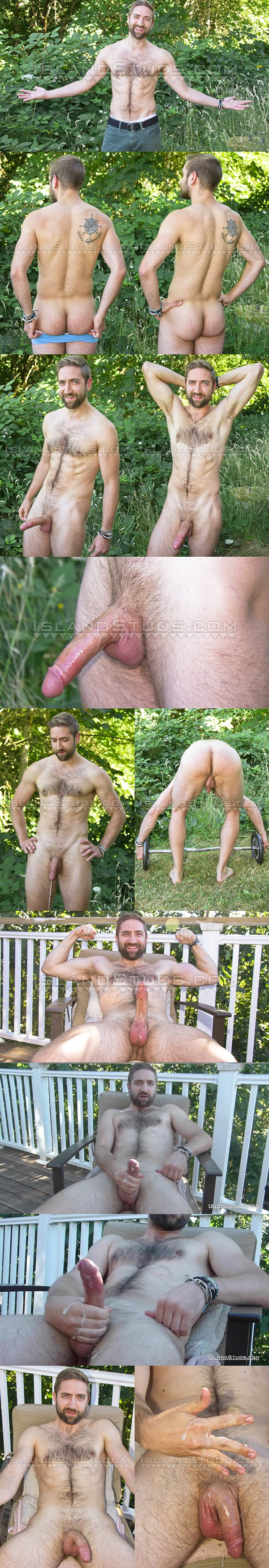 Big-dicked hairy graduate student Mark shows off his naked muscle body and pisses before he milks a sticky load out of his hard pole at Islandstuds
