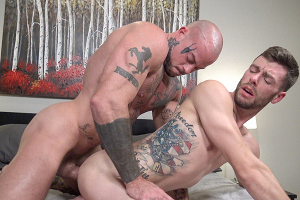 Inked muscle hunk Sean Duran barebacks newcomer Liam Carter in several positions in Atlanta before he breeds Liam in Liam's bottoming debut at Jasonsparkslive