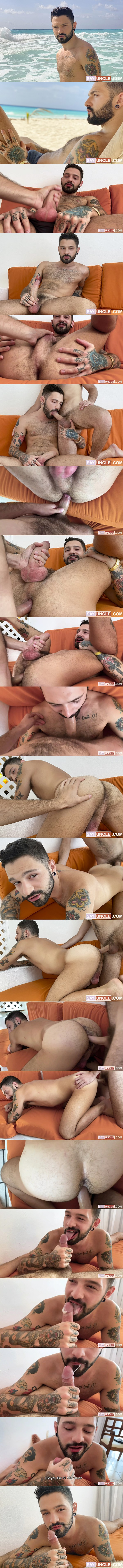 The cameraman Rob Campos barebacks sexy hairy inked Brazilian jock Igor Lucios in a POV scene before Igor jerks Rob off and tastes his load in When Brazil Meets Argentina at Latinleche 01