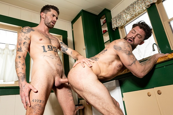 Handsome inked gay porn star Chris Damned barebacks Alpha Wolfe before he fucks the cum out of Alpha in Alpha's bottoming debut in Mountain Tops at Ragingstallion