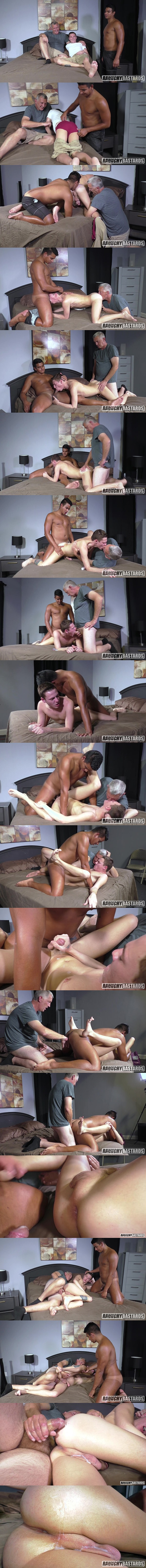 Daddy Clay and Jay Seabrook bareback Johnny Hunter in an older younger threesome before Jay and Clay creampie Johnny in Double Creamed at Raunchybastards 01
