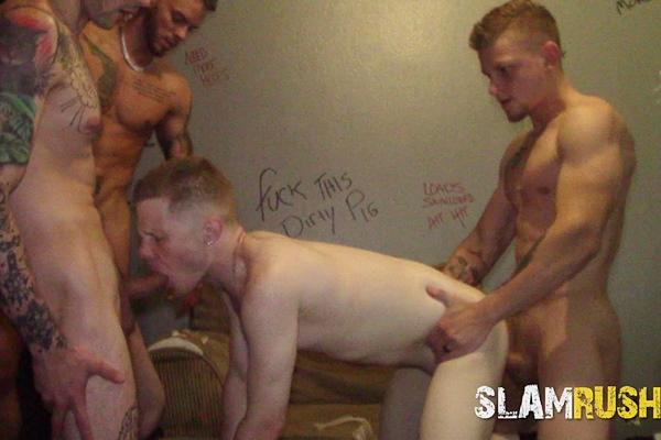 Jeremy G, Holt Wood, Jake Hart, Justin Case, Matt and Shawn Skyler gangbang slutty bottom Justin Zayne before they creampie Justin in Ass Hole Filled at Slamrush