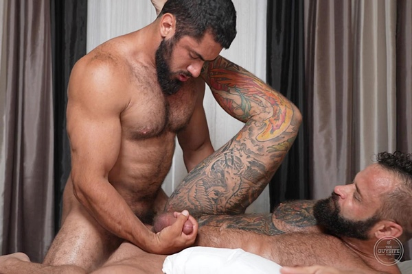 Hot newcomer, masculine straight beefcake Wolfenstein fucks inked muscle daddy Tank Joey before he fucks the cum out of Tank and gives him a facial at Theguysite