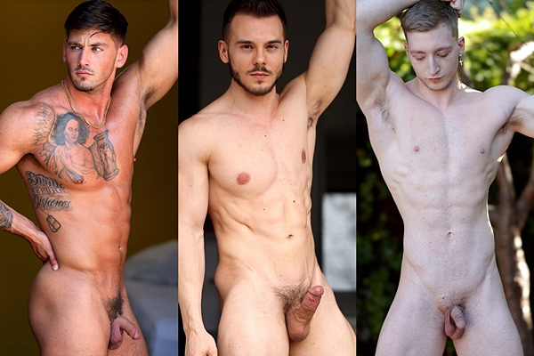 Handsome inked straight muscle jock Rhett West, bearded chiseled muscle stud Mason Nicklaus and lean fit blond jock Clark Rogers jerk off at Gayhoopla