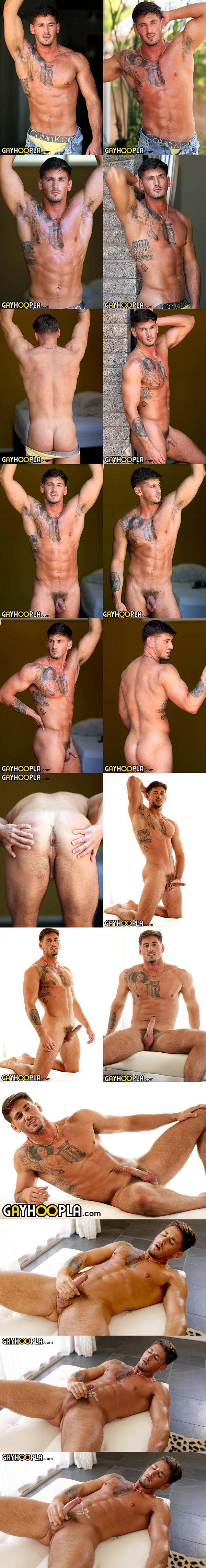 Handsome inked straight muscle jock Rhett West shows off his fit naked body and tight bubble ass before he shoots a big thick creamy load at Gayhoopla