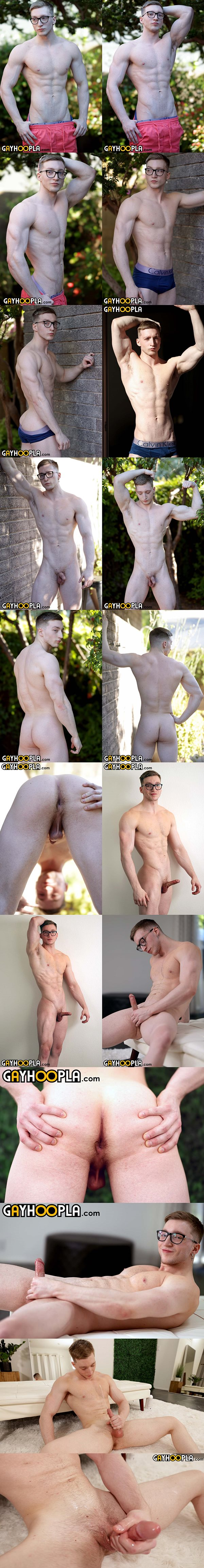lean fit blond straight jock Clark Rogers poses his naked body and strokes his cock before he shoots his jizz on his chest at Gayhoopla
