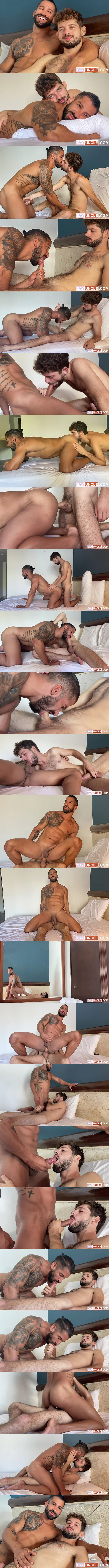 Rob Campos barebacks handsome ripped latino muscle stud Octavio before they give each other facials in Octavio's bottoming debut in Climbed That Chiseled Man at Latinleche 01