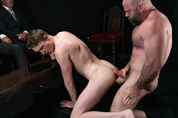 Masculine hairy daddy Bishop Angus barebacks cute twink Cole Blue in an older younger encounter before he breeds Cole in Atonement at Masonicboys