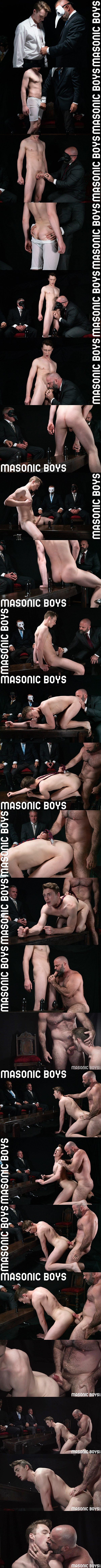 Masculine hairy daddy Bishop Angus barebacks cute twink Cole Blue in an older younger encounter before he breeds Cole in Atonement at Masonicboys 01
