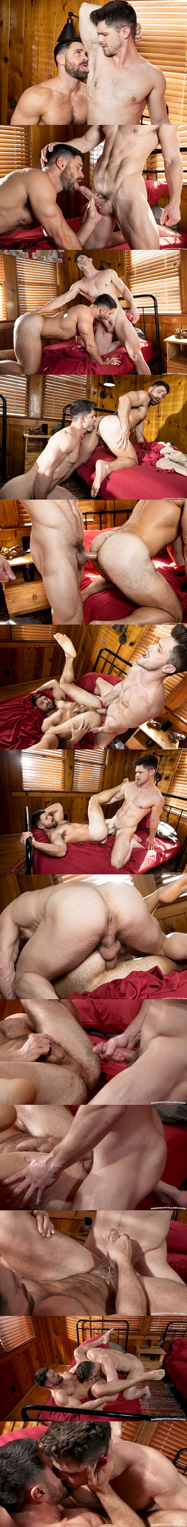 Veteran gay porn star Devin Franco barebacks hairy stud Beau Butler before he breeds Beau and fucks the cum out of Beau in Mountain Tops at Ragingstallion