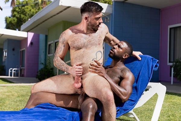 Ripped black muscle hunk Reign barebacks cam model Ian Holms outdoors in an interracial scene before he fucks the cum out of Ian in Get A Room Too at Ragingstallion