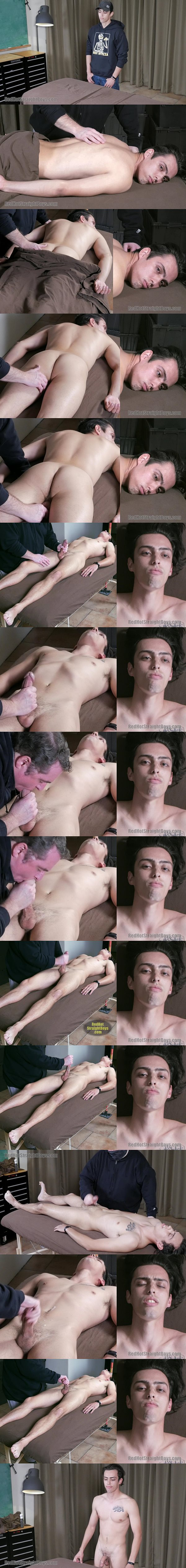Lean fit straight dude Gil Russo gets his first gay blowjob before master Tom strokes the white jizz out of Gil's hard cock at Redhotstraightboys