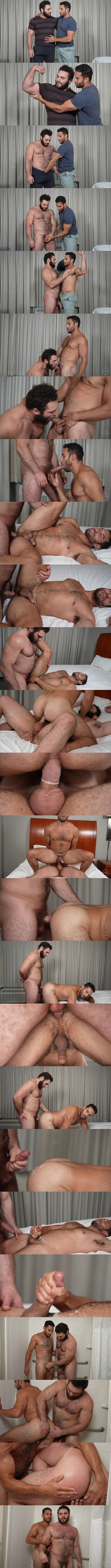 Masculine hairy straight beefcake Ludvig fucks Ricky Decker (aka Arthur) in different positions before they shoot their white jizz at Theguysite 01
