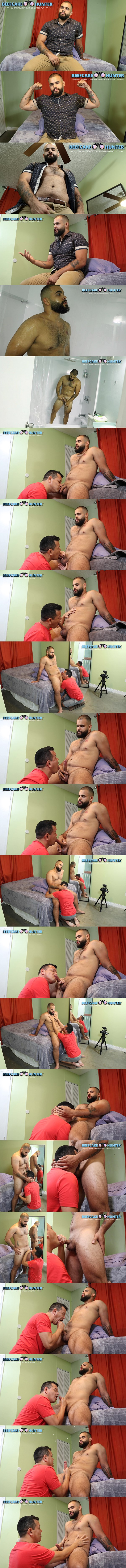 Victor deep-throats straight muscle hunk Gabriel's cock before he strokes a big juicy load out of Gabriel's hard cock in Face Fucked By Beefcake Gabriel at Beefcakehunter 01