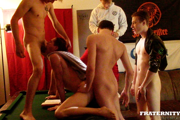Frat dudes Ashton Silvers, Brandon James, Cole (aka Cole Church), Dirk and Finn gangbang Shae (aka Shae Reynolds) before they breed Shae in Punished Peep at Fraternityx