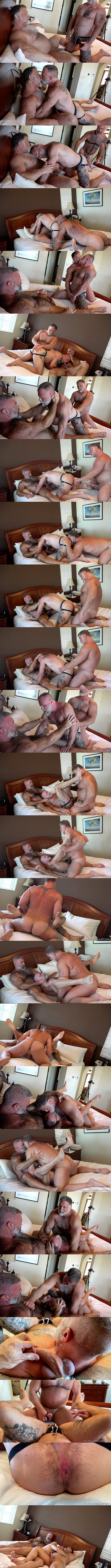 Hairy muscle daddy Rick Kelson barebacks bear bottom Liam Angell in a threeway with Will Angell before Rick creampies Liam in Big Daddy Fucker at Musclebearporn 01
