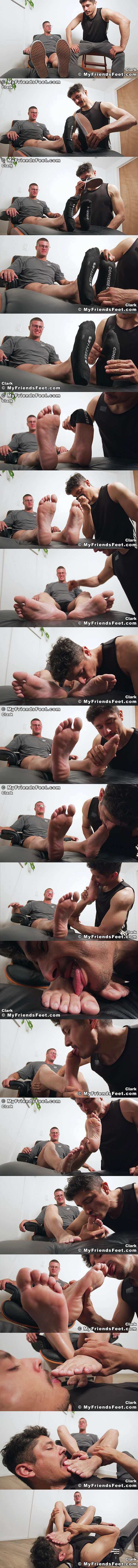 Foot slave Rocky Vallarta worships hot newcomer, young straight bodybuilder Clark's sports socks and size 9 bare feet in Clark's Feet Worshiped at Myfriendsfeet 01