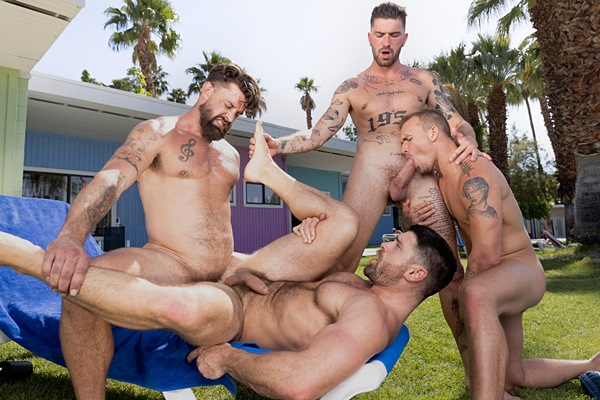 Handsome inked porn star Chris Damned barebacks Isaac X, Beau Butler and Alpha Wolfe in an outdoor foursome until they blow their creamy loads at Ragingstallion