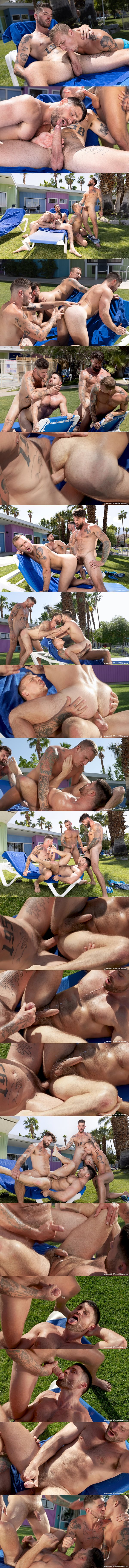 Handsome inked porn star Chris Damned barebacks Isaac X, Beau Butler and Alpha Wolfe in an outdoor foursome until they blow their creamy loads at Ragingstallion 01