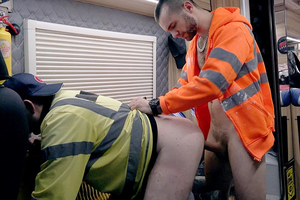 Tony Parker and Mikey Lee bareback and creampie a truck driver before they give him a piss shower in Frothed Up Cum-Bucket Double Filled With Whizz Dripping Cocks at Rawroadnation