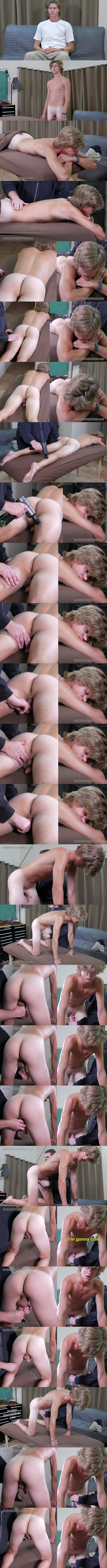 Cute blonde straight lad Ike Godsey gets fondled, massaged and jerked off by a guy for the first time on camera in First Gay Experience at Redhotstraightboys 01
