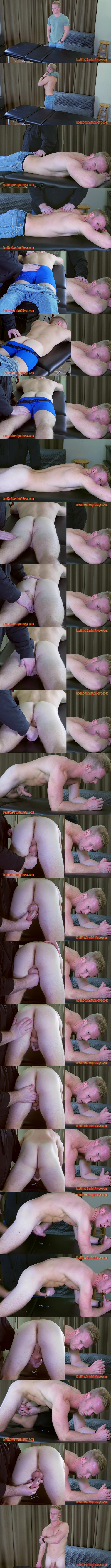 Ripped blond straight jock Kurt Dorn gets massaged and stroked by Tom before Tom milks the jizz out of Kurt's hard cock in First Gay Experience at Redhotstraightboys 01