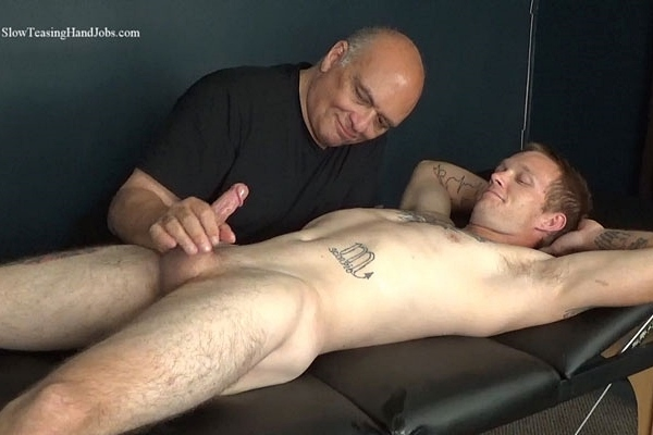 Inked straight jock, iron worker Buddy Meyers gets sucked and rimmed by master Rich before he blows his load in Rich's mouth in Buddy is Back at Slowteasinghandjobs