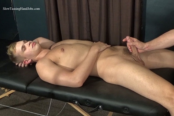 Fit straight jock Hunter (aka Dustin Cross) gets rimmed and sucked by master Rich before Hunter blows his load in Rich's mouth in Hunter Rimmed and Sucked at Slowteasinghandjobs