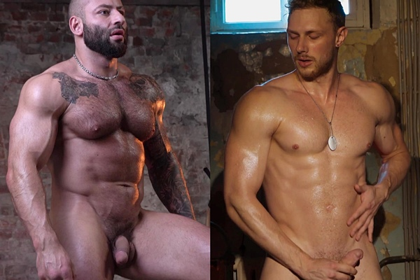 Masculine hairy straight muscle hunk Adrenalin and big-dicked Russian stud Fedor work out naked before they shoot their creamy loads at Theguysite