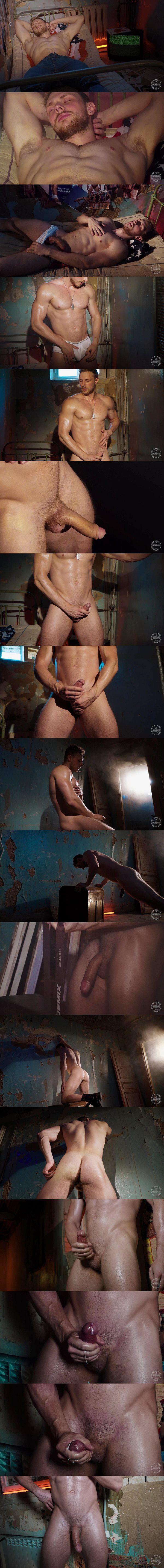 Ripped, hung Russian straight beefcake Fedor works out naked before he strokes a creamy load out of his hard cock in Big Dick Russian In the Zone at Theguysite