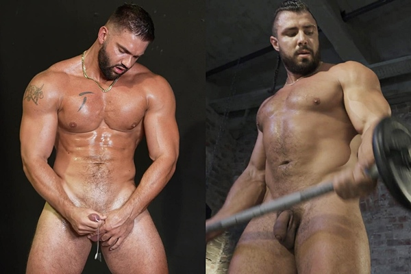 Sexy bearded ripped muscle stud Riko and masculine Russian bodybuilder Ruslan pose their naked muscular bodies and blow their creamy loads at Theguysite