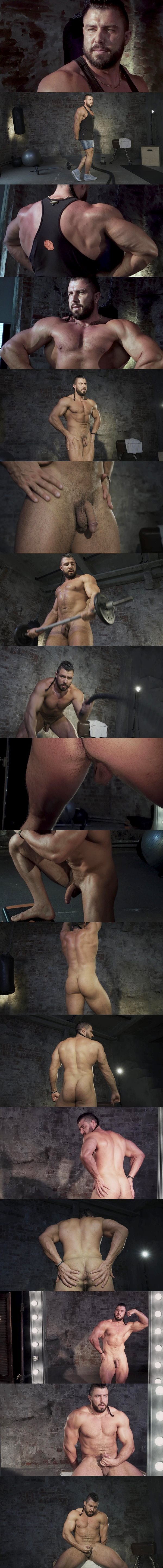Macho Russian bodybuilder Ruslan poses his muscular body and works out naked before he jerks off in Naked Russian Bodybuilder Number 5 at Theguysite