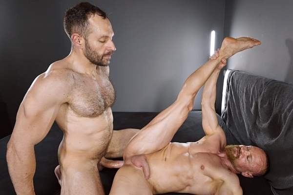 Big-dicked alpha Brazilian hunk Mario Galeno barebacks bearded muscle daddy Guido Stahl in different positions before he breeds Guido at Timtales