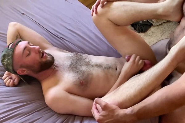 Real couple Cole and Hunter bareback a cute bearded straight lad's tight virgin ass before Hunter breeds and fucks the cum out of the lad in Straighish at Maverickmen