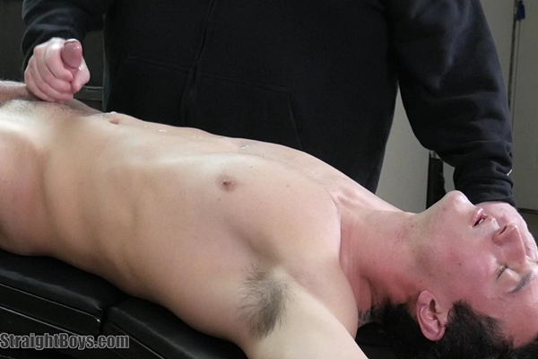Master Tom sucks fit straight jock Colby Sawyer's dick before he strokes a big juicy load out of Colby's hard boner in Colby's First Gay Blowjob at Redhotstraightboys