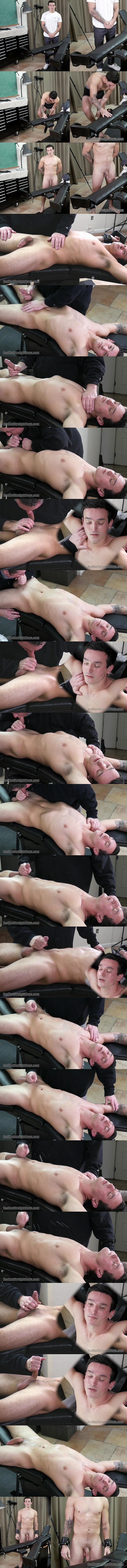 Master Tom sucks fit straight jock Colby Sawyer's dick before he strokes a big juicy load out of Colby's hard boner in Colby's First Gay Blowjob at Redhotstraightboys 01