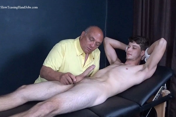 Cute bi-sexual dude Nathan gets serviced by a guy for the first time before he gets slowly edged and jerked off by master Rich in Light Fingered Edging at Slowteasinghandjobs