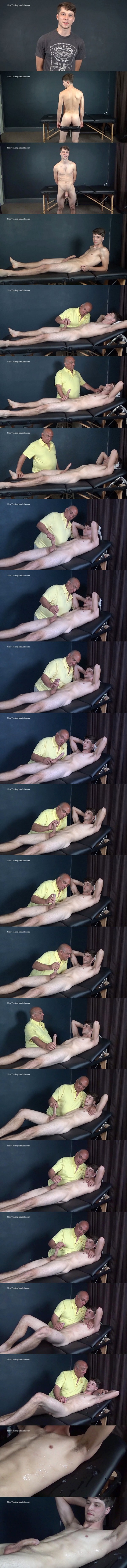 Cute bi-sexual dude Nathan gets serviced by a guy for the first time before he gets slowly edged and jerked off by master Rich in Light Fingered Edging at Slowteasinghandjobs 01