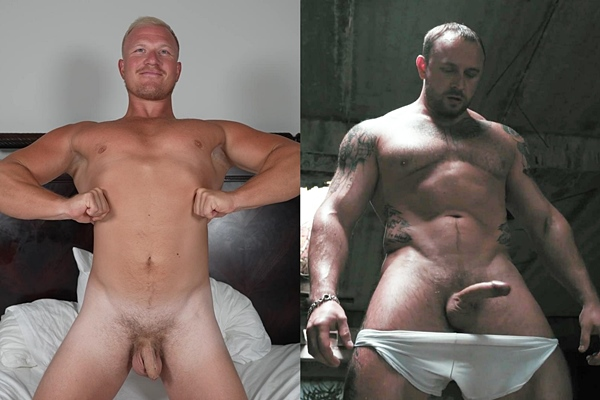 Football player Knox and a hot masculine Russian straight bodybuilder pose their naked bodies before they shoot their creamy loads at Theguysite