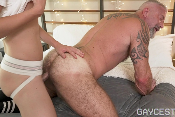 Twink porn star Jack Bailey barebacks and breeds muscle daddy Lance Charger in an older younger encounter in Top Training Teaching My Granson at Gaycest