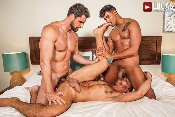 Hung Venezuelan top Marco Antonio barebacks Italian muscle daddy Rudy Gram and handsome Brazilian Kyle Fox in a raw threesome at Lucasentertainment