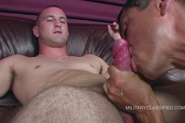 Rob sucks straight Navy Palmer's thick cock and licks his big balls before he milks the jizz out of Palmer's hard boner in Blowjob at Militaryclassified