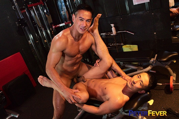 Hot Japanese-Filipino muscle stud Ryuji barebacks fit Japanese gay porn star Hiroya at the gym before they take turns cumming each other's faces at Peterfever