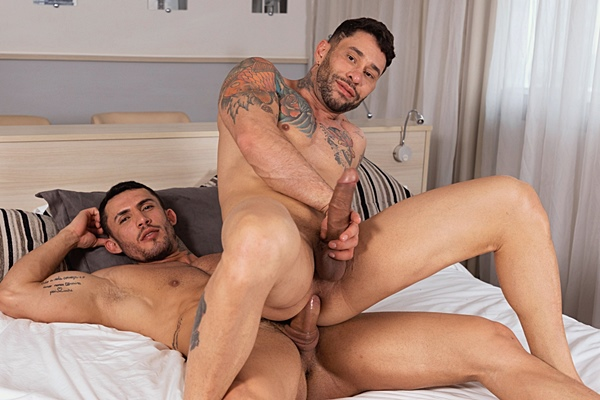 Masculine Brazilian muscle hunk Paulo Pikasso and Yury Santana flip fuck before Paulo creampies Yury in Paulo's bottoming debut in Hot Bare Flippers at Rawhole